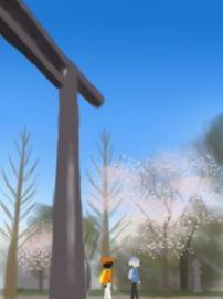 靖国大鳥居と桜(1).jpg
